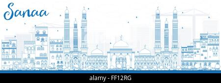 Outline Sanaa (Yemen) Skyline with Blue Buildings. Vector Illustration. Business Travel and Tourism Concept - Stock Photo