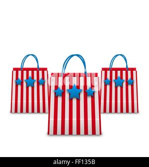 Shopping Bags in American Patriotic Colors. Packets Isolated on White Background - Stock Photo