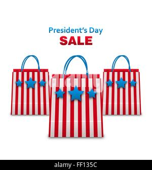 Set Shopping Bags in USA Patriotic Colors for Presidents Day Sa - Stock Photo