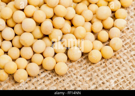 Dried soybeans on brown burlap background - Stock Photo