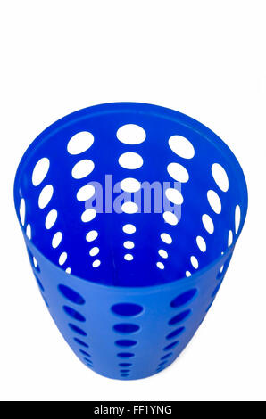 Empty Modern Blue Plastic Trash Can with Holes isolated in White Background - Stock Photo