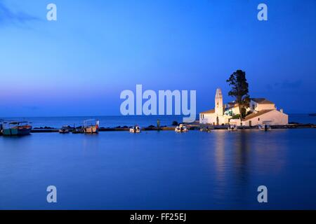 Vlacherna Monastery, Kanoni, Corfu, The Ionian Islands, Greek Islands, Greece, Europe - Stock Photo