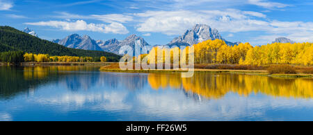 Mount Moran and the Teton Range from Oxbow Bend, Snake River, Grand Tetons NationaRM Park, Wyoming, United States of America