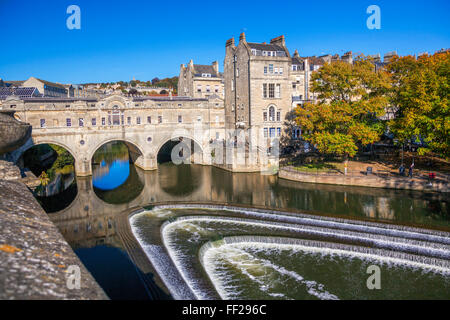 Bath Weir and Pulteney Bridge on the River Avon, Bath, UNESCO World Heritage Site, Somerset, England, United Kingdom, - Stock Photo