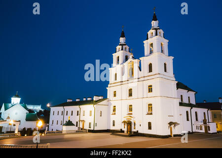 The Cathedral Of Holy Spirit In Minsk - Main Orthodox Church Of Belarus And Symbol Of Capital. Evening, Night Scene - Stock Photo