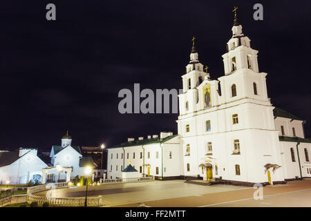 The Cathedral Of Holy Spirit In Minsk - The Main Orthodox Church Of Belarus (Minsk) In Night - Stock Photo