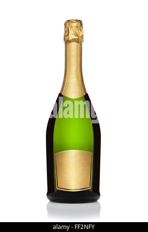 Bottle of champagne, isolated on the white background, clipping path included. - Stock Photo