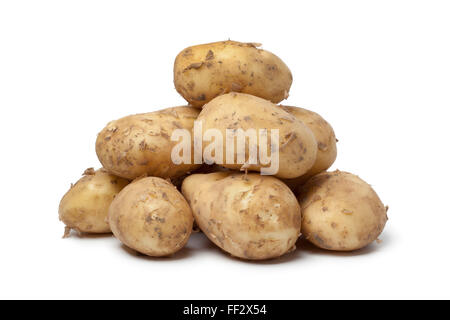 First new potatoes on white background - Stock Photo