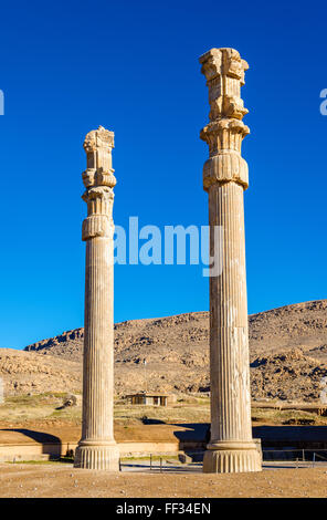 Ancient columns in the Gate of All Nations - Persepolis, Iran - Stock Photo