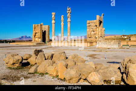 View of the Gate of All Nations in Persepolis - Iran - Stock Photo