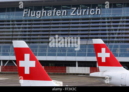 Zurich, Switzerland - January 23, 2016: Swiss International Air Lines airplanes at Zurich Airport (ZRH) in Switzerland. - Stock Photo
