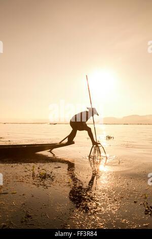 Intha leg rowing fisherman sunrise, Inle Lake, Nyaung Shwe, Nyaungshwe, Shan State, Myanmar (Burma), Asia - Stock Photo