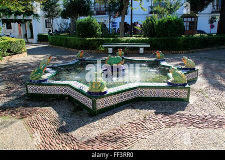Water fountain in Plaza de Santa Maria, Tarifa, Cadiz province, Spain - Stock Photo
