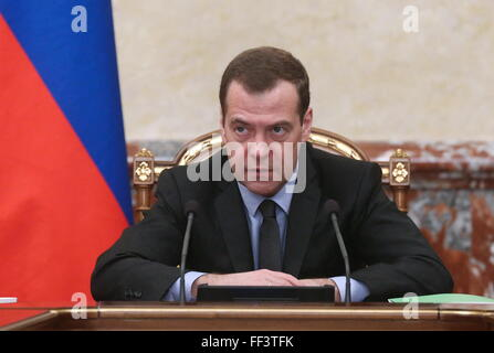 Moscow, Russia. 10th February, 2016. Russia's Prime Minister Dmitry Medvedev holds a meeting on social and economic - Stock Photo