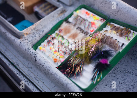 Close up of flies used for fishing on the side of a boat - Stock Photo