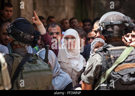Palestinian protest in Old City of Jerusalem, Israel. - Stock Photo