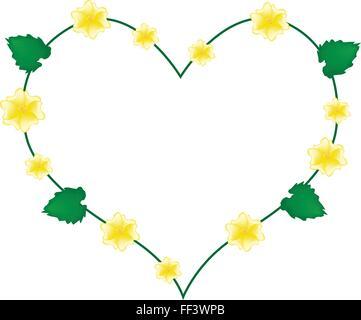 Love Concept, Illustration of Yellow Abutilon Indicum Flowers, Indian Abutilon Flowers or Indian Mallow Flowers - Stock Photo