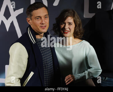 Berlin, Germany. 10th Feb, 2016. Leading actors Volker Bruch (L) as Gereon Rath and Liv Lisa Fries as Charlotte - Stock Photo