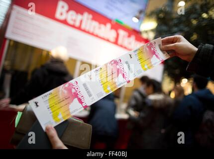 Berlin, Germany. 10th Feb, 2016. Berlinale tickets are presented in Berlin, Germany, 10 February 2016. The Berlinale - Stock Photo