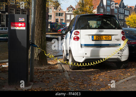 EV / Electric car / electrically powered cars being charged / having battery / batteries recharged at street / road - Stock Photo