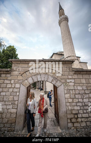 Gazi Husrev-beg Mosque in old town of Sarajevo, the largest historical mosque in Bosnia and Herzegovina - Stock Photo