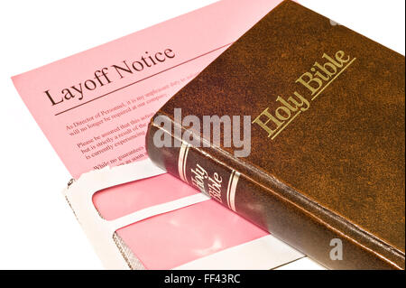 Layoff Notice and Bible - Stock Photo