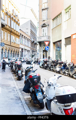 Trieste, Italy - February 5, 2016: motorcycles parked in designated areas. - Stock Photo