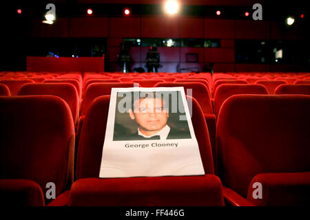 Berlin, Germany. 10th Feb, 2016. A seat has been prepared for US actor George Clooney at Berlinale Palace in Berlin, - Stock Photo