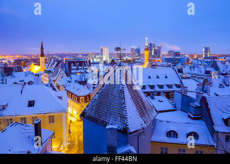 Panoramic view of old part of Tallin in winter. Town hall and churches spires - Stock Photo