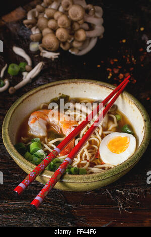 Asian soup ramen with shrimp - Stock Photo