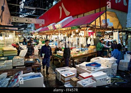 Japan, Honshu island, Kanto, Tokyo, Tsukiji market - Stock Photo