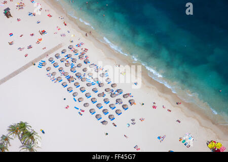 Aerial of a beach in Mallorca - Stock Photo