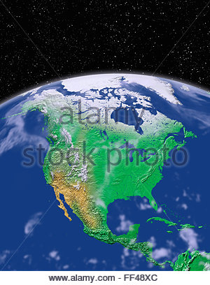 Satellite view of the earth north america from space stock photo simulated satellite view of part of the earth from space north america world map space planet gumiabroncs Choice Image