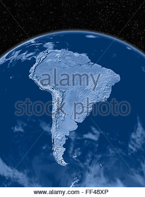 Simulated satellite view of part of the earth from space South America world map space planet globe terrain relief - Stock Photo
