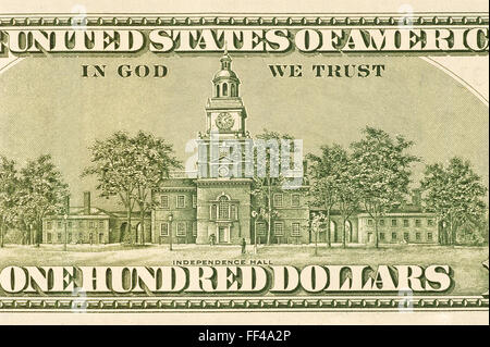 Detail From Back of Hundred Dollar Bill - Stock Photo