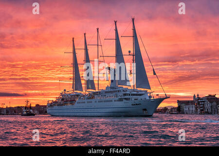 Venice, Italy. The cruise ship Club Med 2, a 5 masted computer-controlled sailing ship with 2 diesel-electric engines - Stock Photo