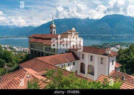 Sanctuary and pilgrimage church of Madonna del Sasso, above the city of Locarno, Ticino, Switzerland, and Lago Maggiore - Stock Photo