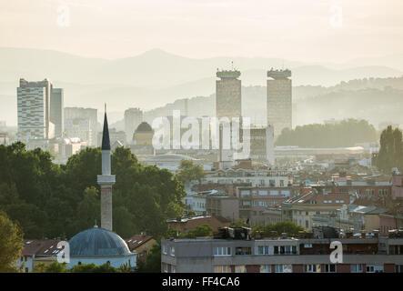 Aerial view in Sarajevo, Bosnia and Herzegovina - Stock Photo