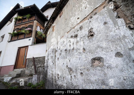bullet holes on the house wall in Alifakovac district in Sarajevo, Bosnia and Herzegovina - Stock Photo