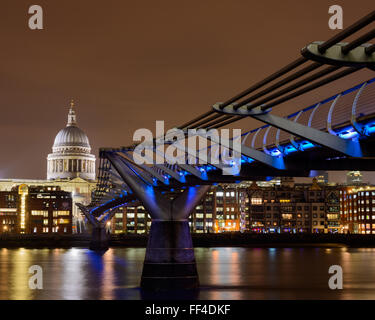 St. Paul's Cathedral and the Millenium Bridge - Stock Photo