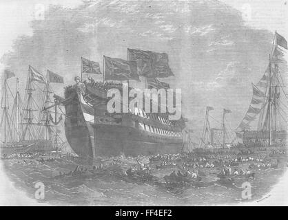 LONDON Launch line-of-battle ship Anson, Woolwich 1860. Illustrated London News - Stock Photo