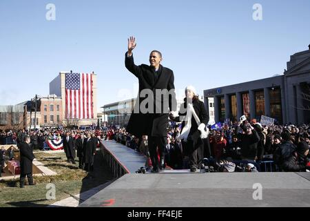 U.S. Senator Barack Obama waves as he arrives to announce his candidacy for president of the United States at the - Stock Photo