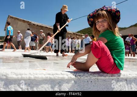 Flower of salt, Salinas de Oro. Navarre. Spain - Stock Photo