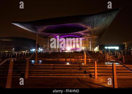 Welsh Government National Assembly building,The Senedd, at night. - Stock Photo