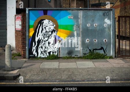 Street Art in Finsbury Park, North London, UK - Stock Photo