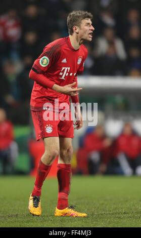 Football, German Soccer Cup, last eight, February 11, 2016, Bochum, VfL Bochum vs FC Bayern Muenchen: Thomas Mueller - Stock Photo