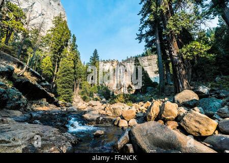 Merced River with Nevada Fall, Mist Trail, Yosemite National Park, California, USA, North America - Stock Photo