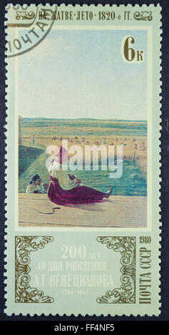 A stamp printed in Russia, shows printing, 1980 - Stock Photo