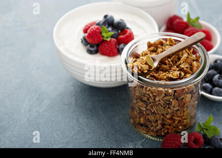 Breakfast items on the table - Stock Photo