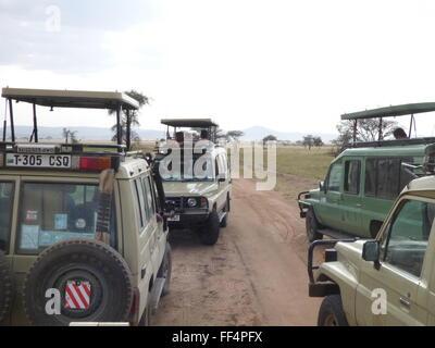 a safari jeep jam in serengeti national park Tanzania Africa photo by jen lombardo - Stock Photo